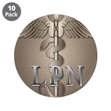 "LPN Caduceus 3.5"" Button (10 pack)"