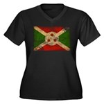 Burundi Flag Women's Plus Size V-Neck Dark T-Shirt