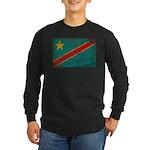 Congo Flag Long Sleeve Dark T-Shirt