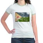Djibouti Flag Jr. Ringer T-Shirt