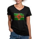 Dominica Flag Women's V-Neck Dark T-Shirt