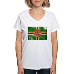 Dominica Flag Women's V-Neck T-Shirt