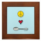 Peace, Love, SPOON! Framed tile.