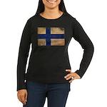 Finland Flag Women's Long Sleeve Dark T-Shirt