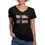 Finland Flag Women's V-Neck Dark T-Shirt