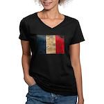 France Flag Women's V-Neck Dark T-Shirt