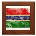 Gambia Flag Framed Tile