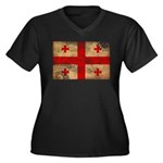 Georgia Flag Women's Plus Size V-Neck Dark T-Shirt