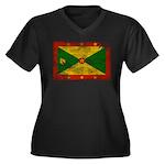 Grenada Flag Women's Plus Size V-Neck Dark T-Shirt