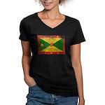 Grenada Flag Women's V-Neck Dark T-Shirt