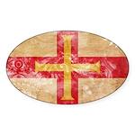 Guernsey Flag Sticker (Oval 10 pk)