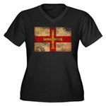 Guernsey Flag Women's Plus Size V-Neck Dark T-Shir