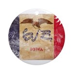 Iowa Flag Ornament (Round)