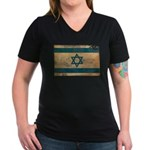 Israel Flag Women's V-Neck Dark T-Shirt