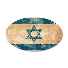 Israel Flag 38.5 x 24.5 Oval Wall Peel