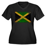 Jamaica Flag Women's Plus Size V-Neck Dark T-Shirt