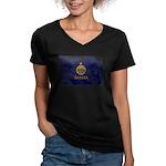 Kansas Flag Women's V-Neck Dark T-Shirt