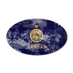 Kansas Flag 38.5 x 24.5 Oval Wall Peel