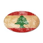 Lebanon Flag 38.5 x 24.5 Oval Wall Peel