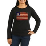 Liberia Flag Women's Long Sleeve Dark T-Shirt