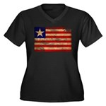Liberia Flag Women's Plus Size V-Neck Dark T-Shirt