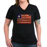 Liberia Flag Women's V-Neck Dark T-Shirt