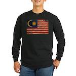 Malaysia Flag Long Sleeve Dark T-Shirt