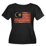 Malaysia Flag Women's Plus Size Scoop Neck Dark T-