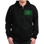 Mauritania Flag Zip Hoodie (dark)