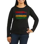 Mauritius Flag Women's Long Sleeve Dark T-Shirt