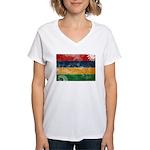 Mauritius Flag Women's V-Neck T-Shirt