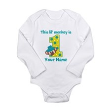 1st Birthday Monkey Boy Long Sleeve Infant Bodysui