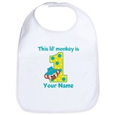 1st Birthday Monkey Boy Bib