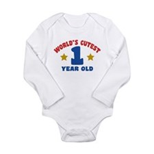 World's Cutest 1 Year Old Long Sleeve Infant Bodys