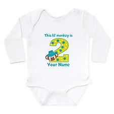2nd Birthday Monkey Boy Long Sleeve Infant Bodysui