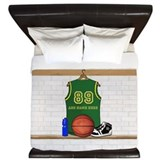 Personalized Basketball Green King Duvet