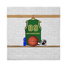 Personalized Basketball Green Queen Duvet