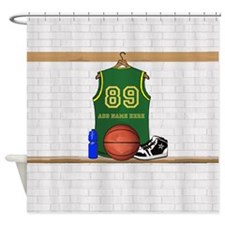 Personalized Basketball Green Shower Curtain