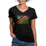 Namibia Flag Women's V-Neck Dark T-Shirt