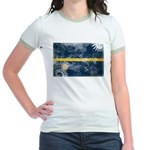 Nauru Flag Jr. Ringer T-Shirt