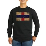 Netherlands Antilles Flag Long Sleeve Dark T-Shirt