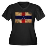 Netherlands Antilles Flag Women's Plus Size V-Neck