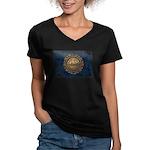 New Hampshire Flag Women's V-Neck Dark T-Shirt