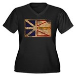 Newfoundland Flag Women's Plus Size V-Neck Dark T-