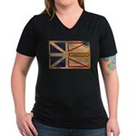 Newfoundland Flag Women's V-Neck Dark T-Shirt