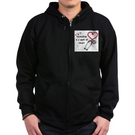 Nurses Work of Heart Zip Hoodie (dark)