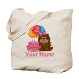 2nd Birthday Puppy Girl Tote Bag