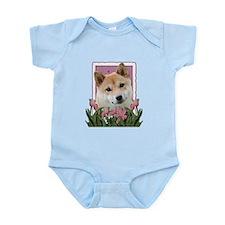 Mothers Day Pink Tulips Shiba Inu Infant Bodysuit