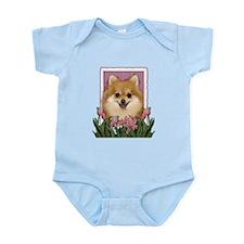 Mothers Day Pink Tulips Pom Infant Bodysuit