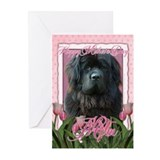 Mothers Day Pink Tulips Newfie Greeting Cards (Pk